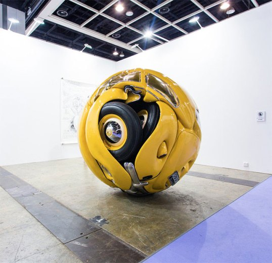Volkswagen Beetle compacted in a sphere